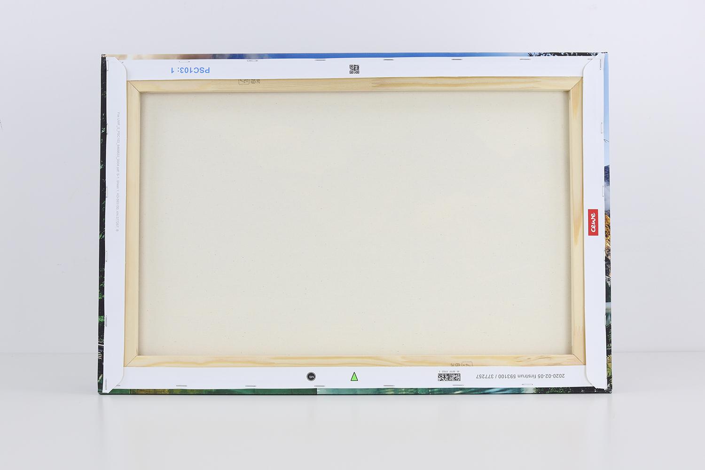 Die Rückseite der Fotoleinwand zeigt, dass die Leinwand sehr gut verarbeitet und sorgfältig an den Keilrahmen angebracht wurde.